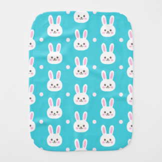 Cute turquoise white easter bunnies simple pattern burp cloth