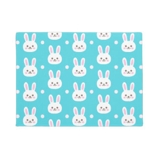 Cute turquoise white easter bunnies simple pattern doormat