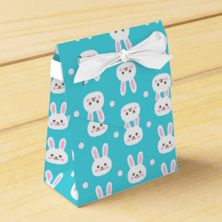 Cute turquoise white easter bunnies simple pattern favor box