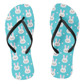 Cute turquoise white easter bunnies simple pattern flip flops