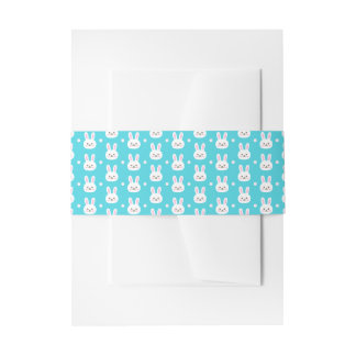 Cute turquoise white easter bunnies simple pattern invitation belly band