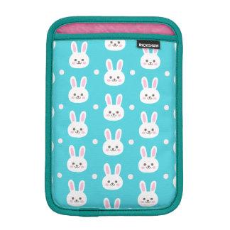 Cute turquoise white easter bunnies simple pattern iPad mini sleeve