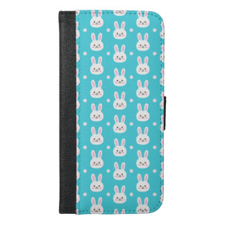 Cute turquoise white easter bunnies simple pattern iPhone 6/6s plus wallet case