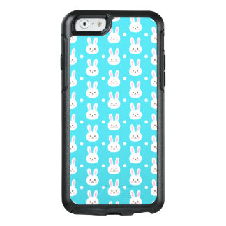 Cute turquoise white easter bunnies simple pattern OtterBox iPhone 6/6s case