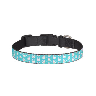 Cute turquoise white easter bunnies simple pattern pet collar