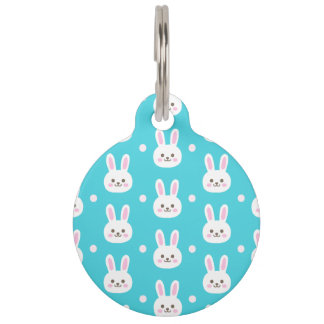 Cute turquoise white easter bunnies simple pattern pet tag