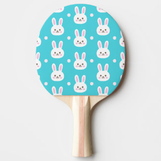 Cute turquoise white easter bunnies simple pattern Ping-Pong paddle