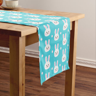 Cute turquoise white easter bunnies simple pattern short table runner