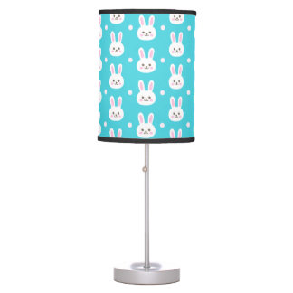 Cute turquoise white easter bunnies simple pattern table lamp