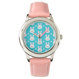 Cute turquoise white easter bunnies simple pattern watch