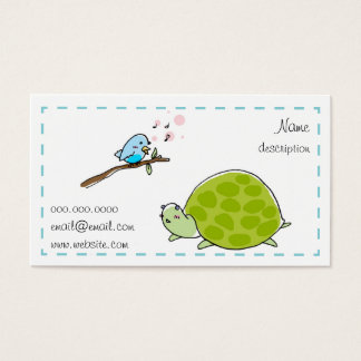 cute turtle and singing bird business card