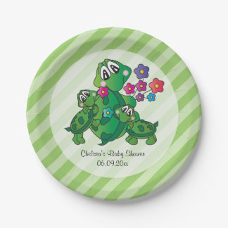 Cute Turtle Baby Shower Theme Paper Plate