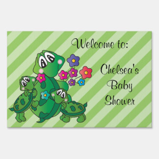 Cute Turtle Baby Shower Theme Sign