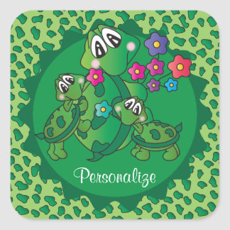 Cute Turtle Baby Shower Theme Square Sticker