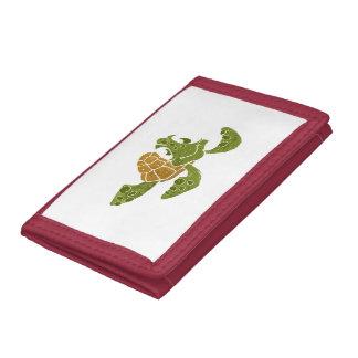 Cute turtle cartoon. tri-fold wallet