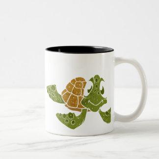 Cute turtle cartoon. Two-Tone coffee mug