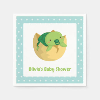 Cute Turtle in Egg Boy Baby Shower Napkins