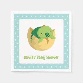 Cute Turtle in Egg Boy Baby Shower Napkins Paper Napkin