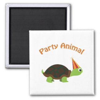 Cute Turtle Party Animal Square Magnet