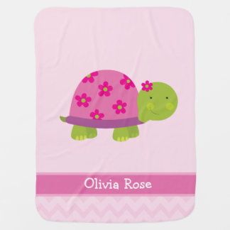 Cute Turtle Personalized Blanked for Girls Swaddle Blanket