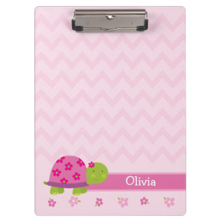 Cute Turtle Pink Personalized Clipboard