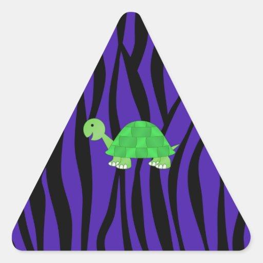 Cute turtle purple zebra stripes triangle stickers