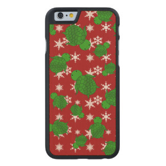 Cute turtle red snowflakes carved® maple iPhone 6 case
