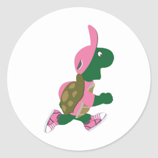 Cute Turtle Runner in PInk Classic Round Sticker