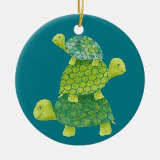 Cute Turtle Stack Family Ceramic Ornament