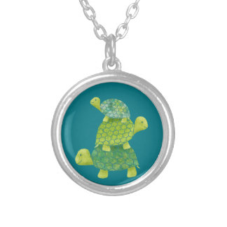 Cute Turtle Stack Family Silver Plated Necklace