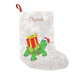 Cute Turtle With  Santa Hat Present,Glittery Bokeh Small Christmas Stocking