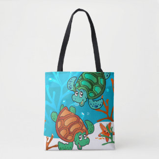Cute Turtles Aquatic Ocean Tote Bag