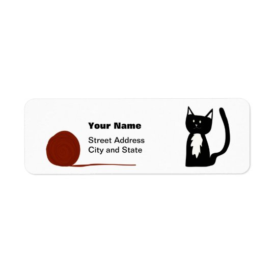Cute Tuxedo Cat with Yarn Return Address Label