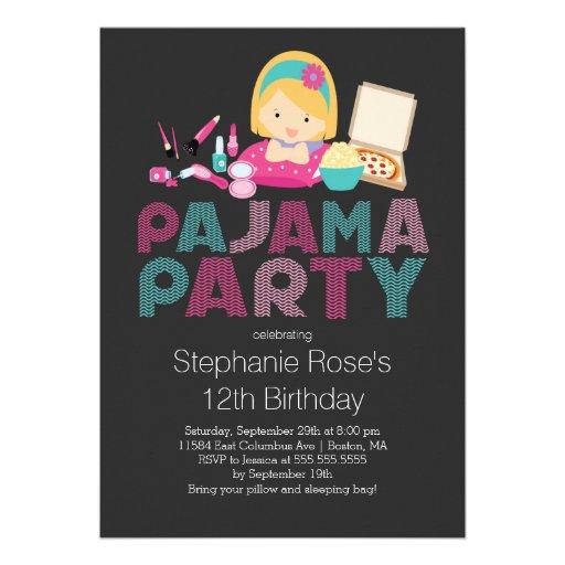 Cute Tween Pajama Birthday Party Invitation
