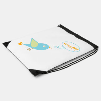 Cute tweet drawstring bag
