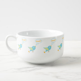 Cute tweet soup bowl with handle