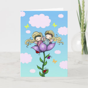 Cute Twin Fairies Sister Birthday Card