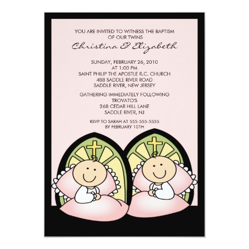 "Cute Twin Girls Baptism Christening Inviation 5"" X 7"" Invitation Card"