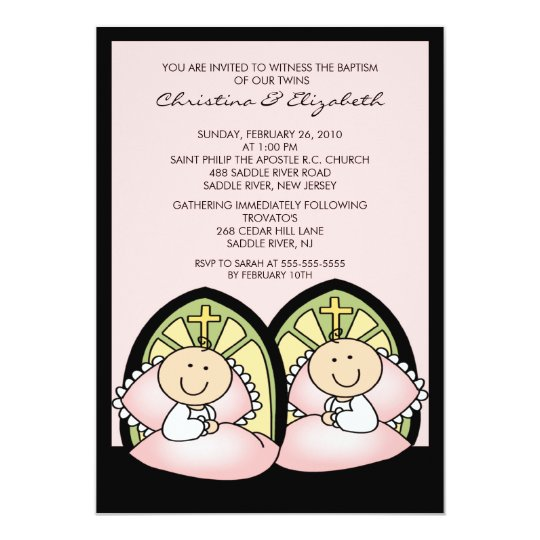 Cute Twin Girls Baptism Christening Inviation Card