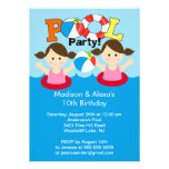 CUTE Twin Girls Pool Party Birthday Invitation