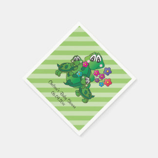Cute Twin Turtle Baby Shower Theme Paper Napkin