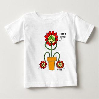 Cute Twins Cartoon Flowers Mom with Twin Babies Baby T-Shirt