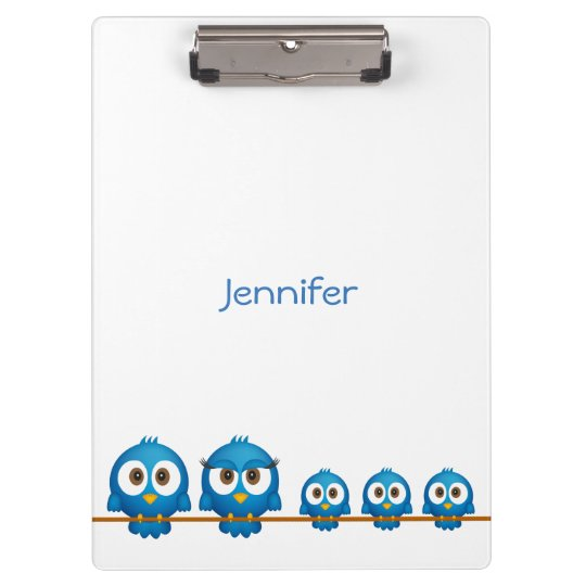 Cute twitter bird family cartoon clipboard