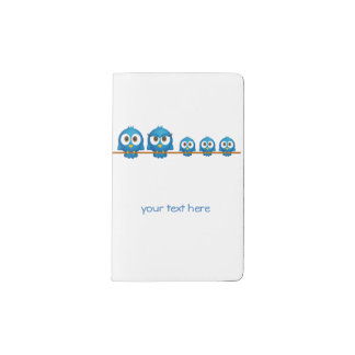 Cute twitter bird family cartoon pocket moleskine notebook