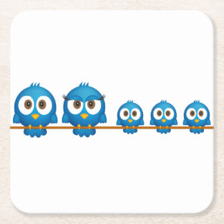 Cute twitter bird family cartoon square paper coaster