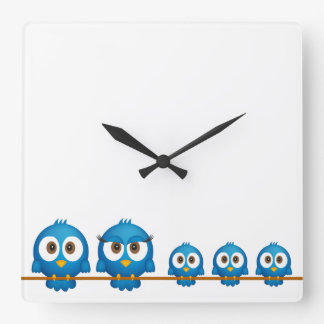 Cute twitter bird family cartoon wallclocks