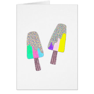 Cute Two Colorful Popsicles Card
