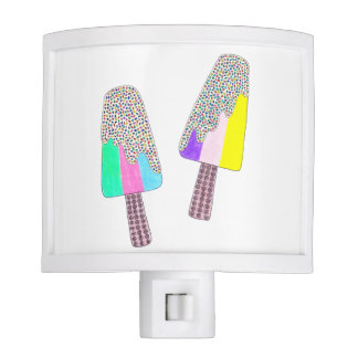 Cute Two Colorful Popsicles Night Lights