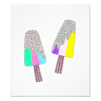 Cute Two Colorful Popsicles Photo Print