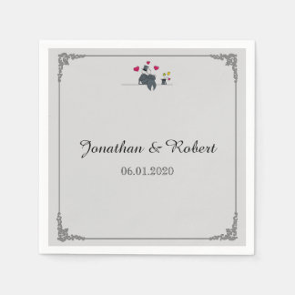 Cute Two Grooms Cartoon Gay Wedding Napkin Paper Napkins